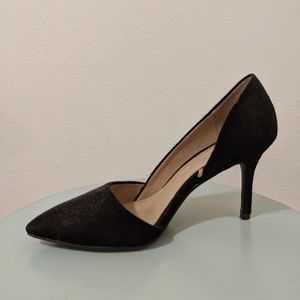 Black D'Orsay Pointed Faux-Suede Heels.